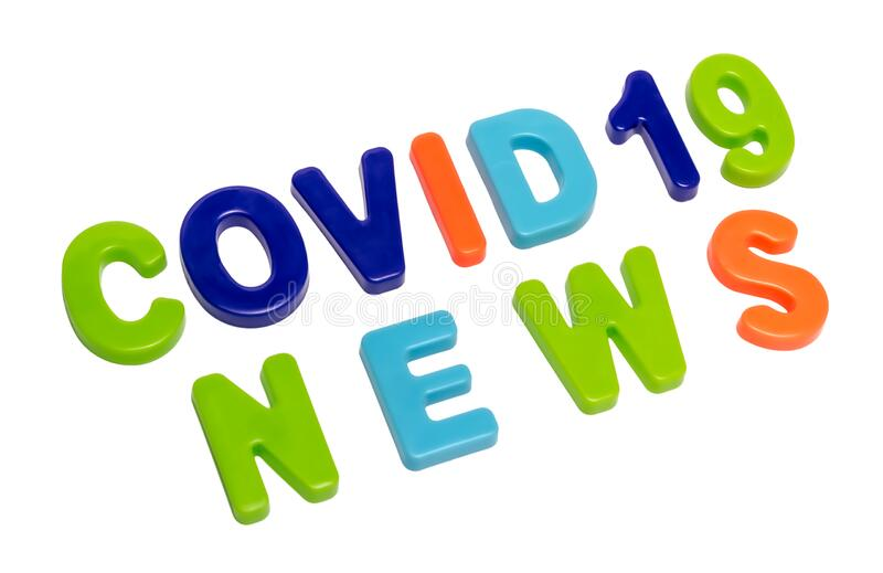 Text COVID-19 NEWS on a white background stock photos
