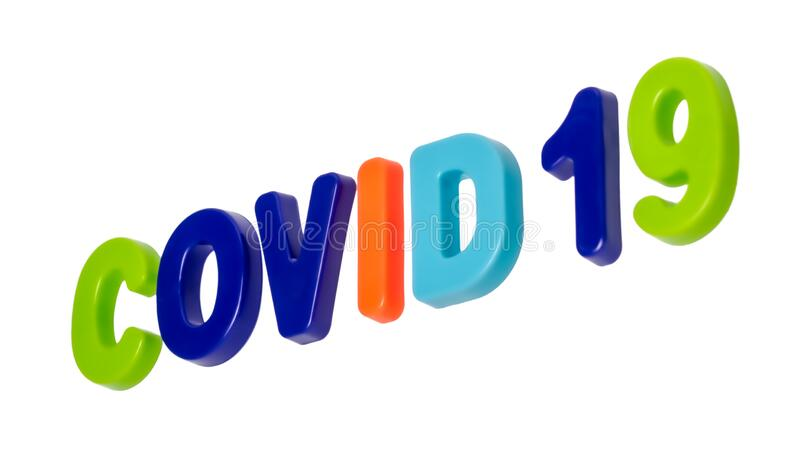 Text COVID-19 on a white background stock photos