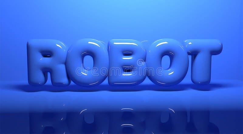 Text 3d übertragen Buchstaberoboter auf blauem Hintergrund stockbild
