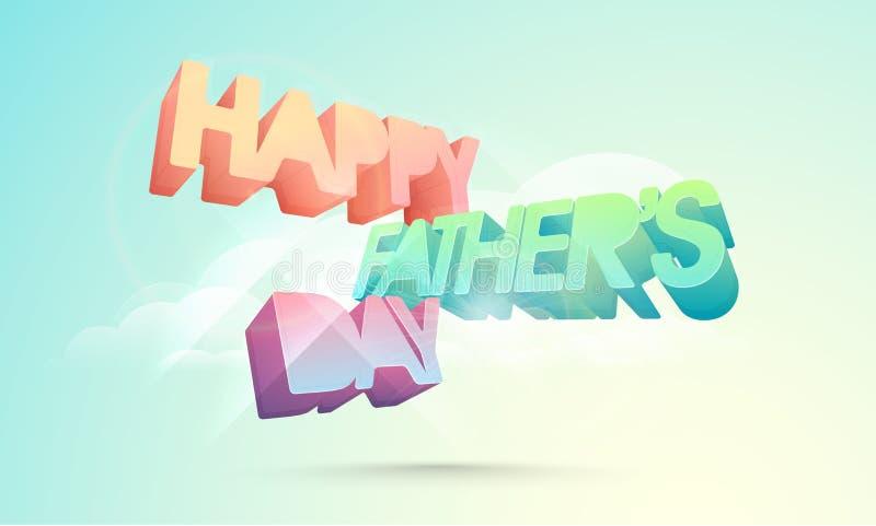 text 3D för lycklig faders beröm för dag vektor illustrationer