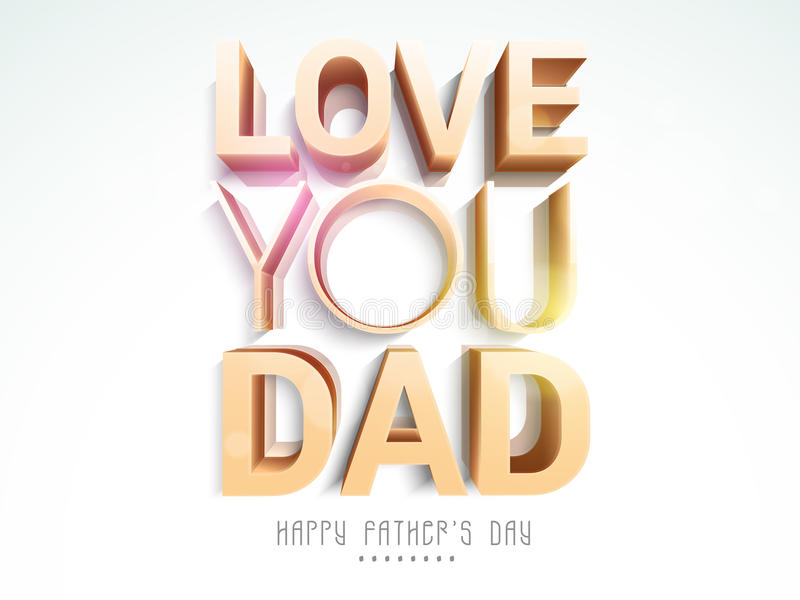 text 3D för lycklig faders beröm för dag royaltyfri illustrationer