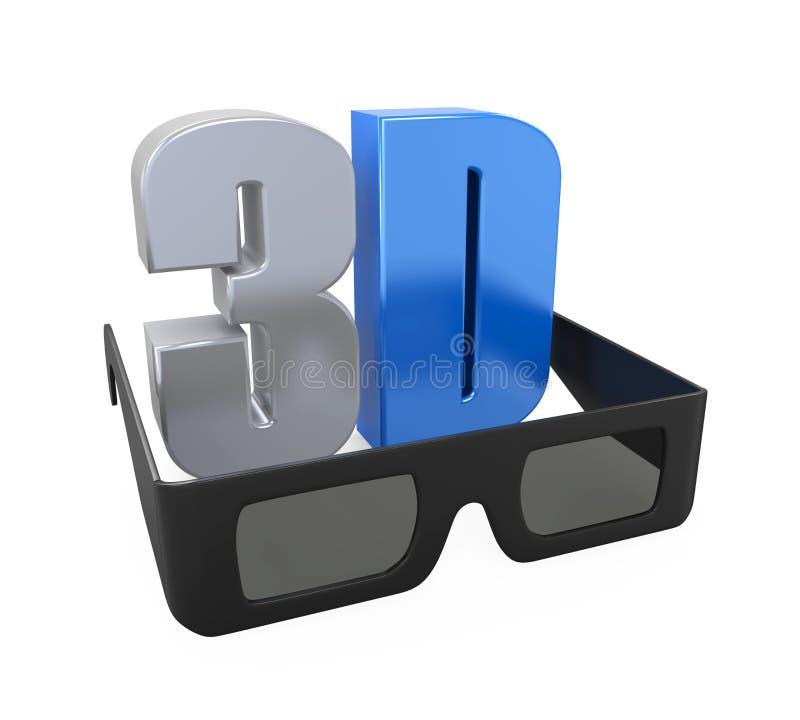 text 3D och exponeringsglas royaltyfri illustrationer