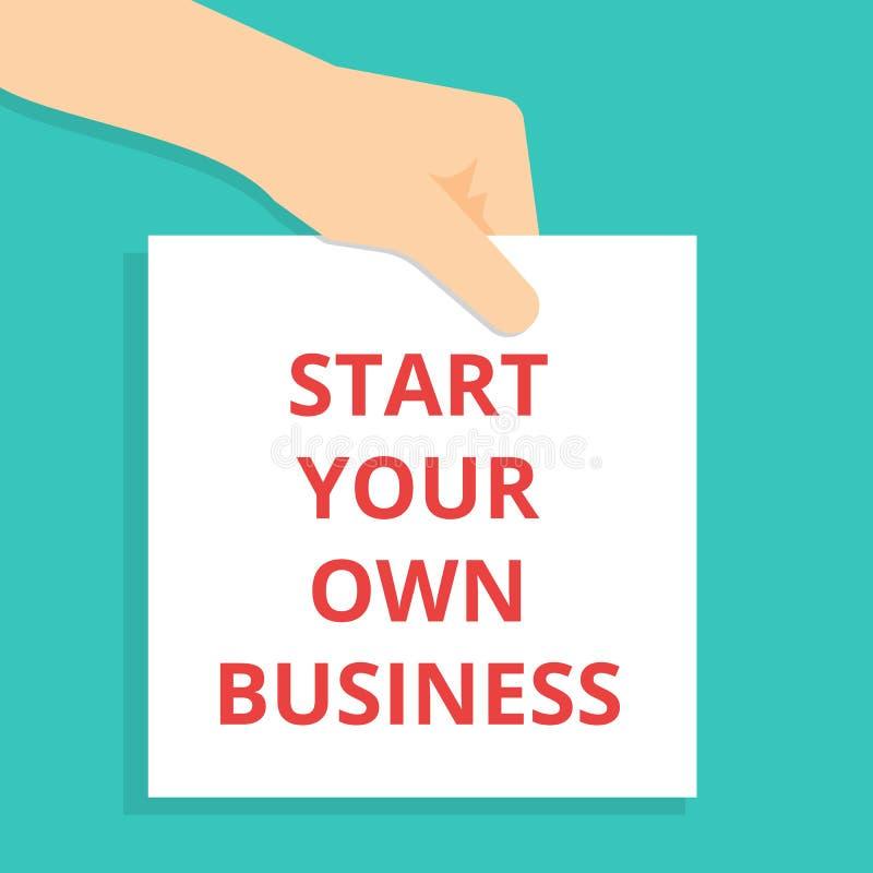 Text, der Anfang Ihr eigenes Geschäft schreibt lizenzfreie abbildung