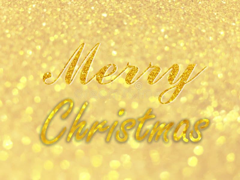 Text der frohen Weihnachten auf abstraktem Gold-bokeh kreist für Weihnachtshintergrund, Funkeln helles defocused und unscharfes b lizenzfreie stockfotografie