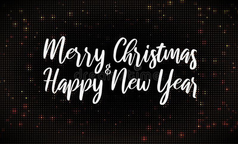 Text der frohen Weihnachten auf goldenem funkelndem Halbtonmusterhintergrund lizenzfreie abbildung