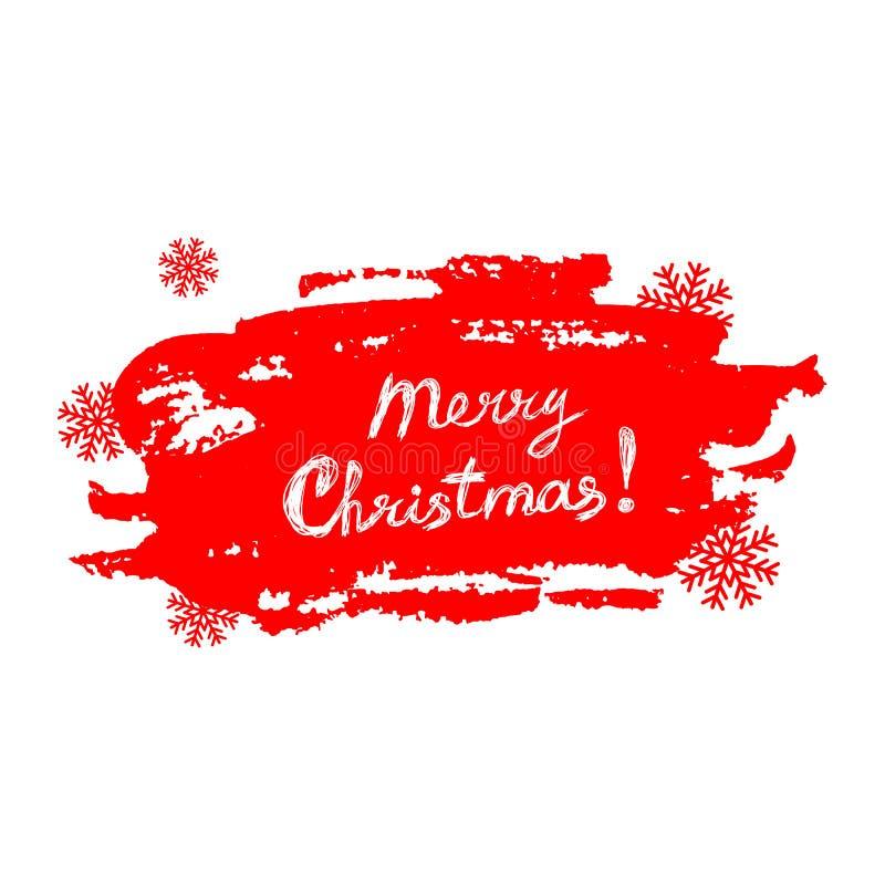 Text der frohen Weihnachten auf rotem Hintergrund des Schmutzes mit Schneeflocken vektor abbildung