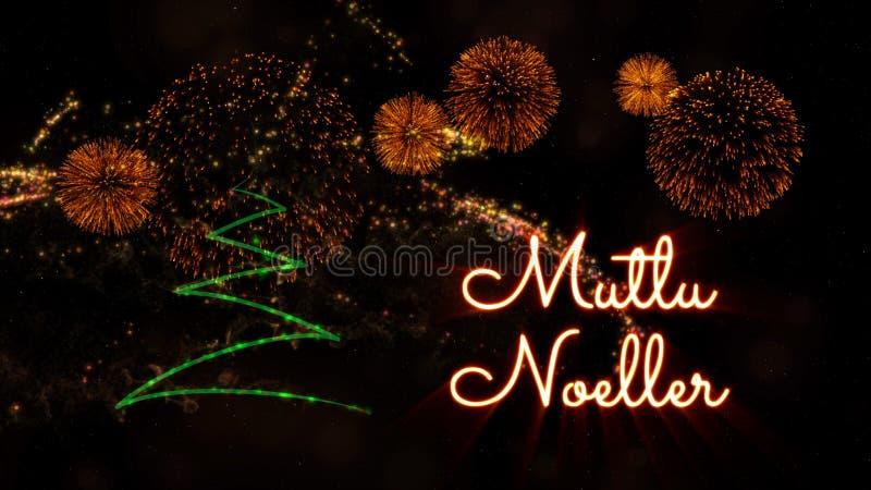 Text der frohen Weihnachten auf Türkisch 'Mutlu Noeller' über Kiefer und Feuerwerken lizenzfreie stockfotografie