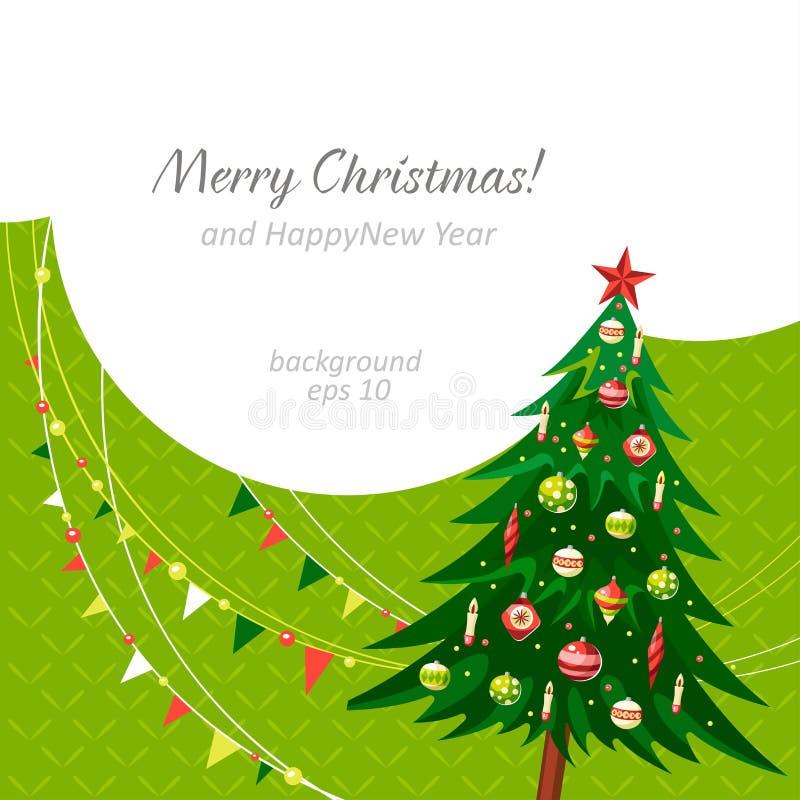 Text der frohen Weihnachten der Weihnachtsbaum-Hintergrundgrüngirlanden stock abbildung