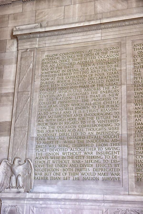 Text der Gettysburg-Rede bei Lincoln Memorial in Washington, DC lizenzfreies stockbild