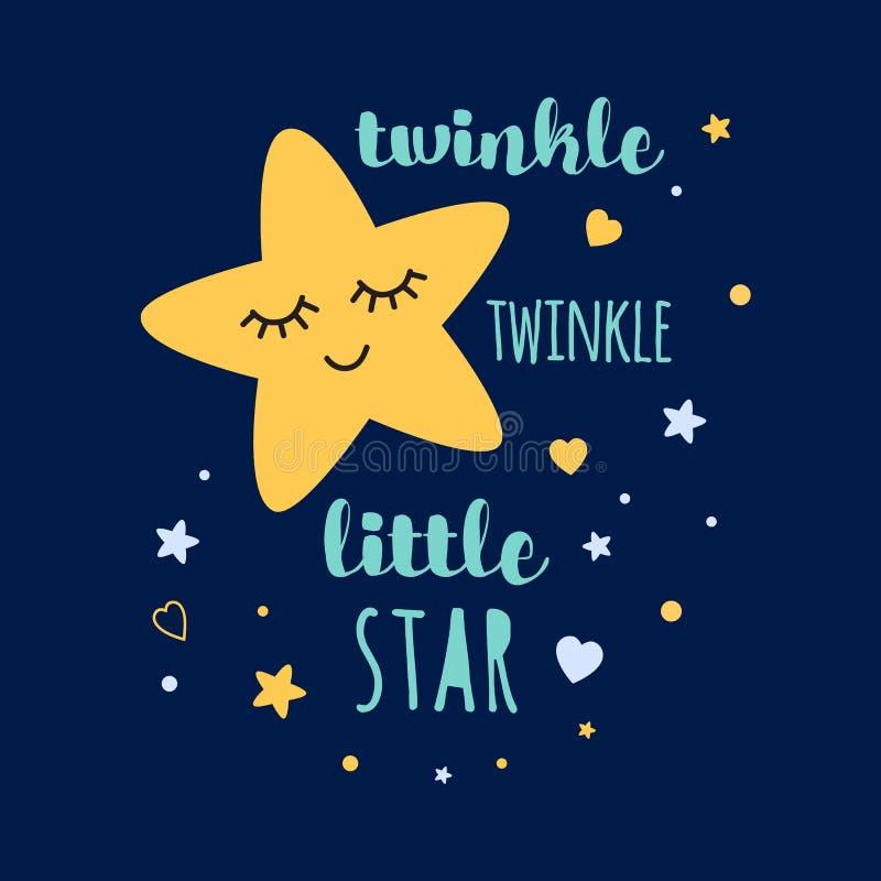 Text des Funkelnfunkeln-kleinen Sterns mit gelbem sleepeing Stern Babyparty-Schablonenentwurf vektor abbildung