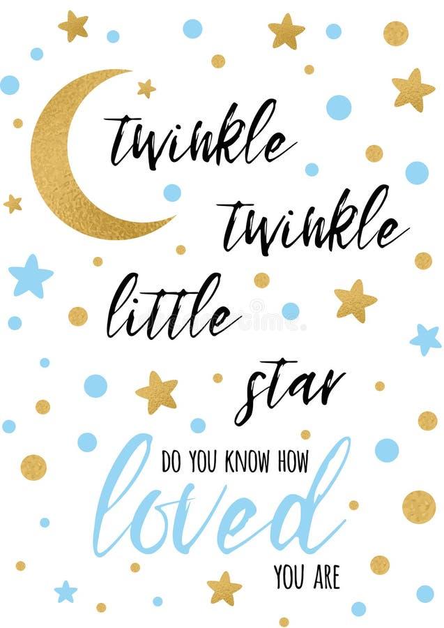 Text des Funkelnfunkeln-kleinen Sterns mit goldenem oranment und blauer Stern für Jungenbabyparty-Fahnenschablone vektor abbildung