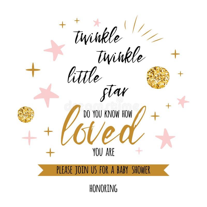 Text des Funkelnfunkeln-kleinen Sterns mit goldenem oranment und rosa Stern für Mädchenbabyparty kardieren Schablone stock abbildung