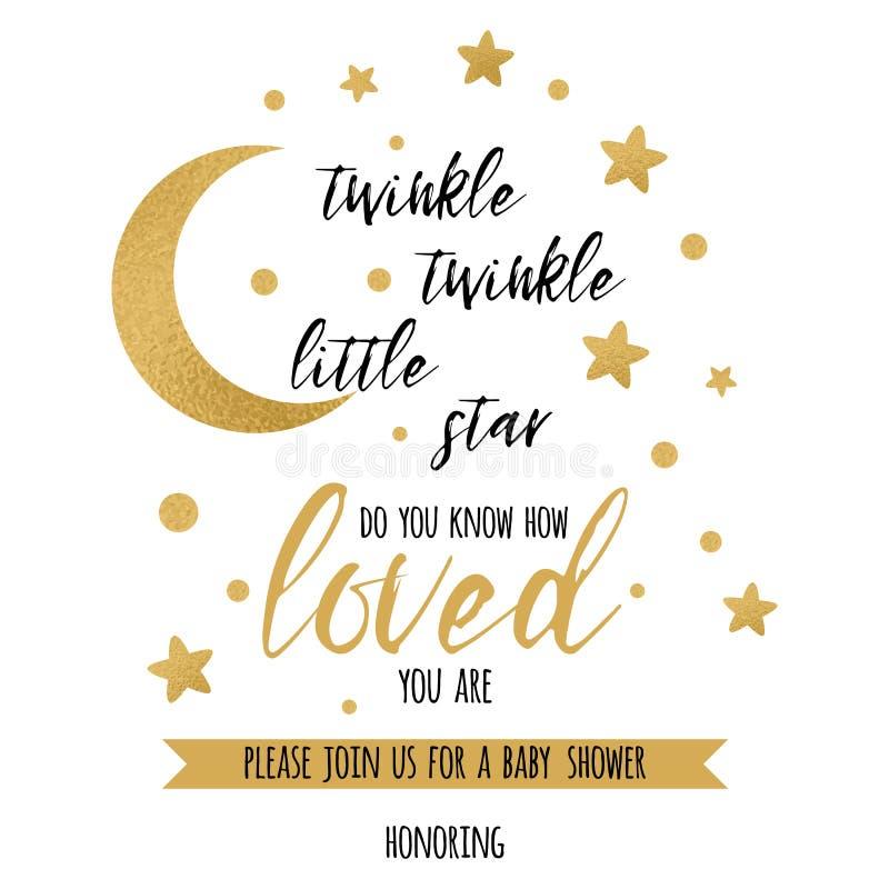 Text des Funkelnfunkeln-kleinen Sterns mit Goldstern und -mond für Mädchenbabyparty-Einladungsschablone vektor abbildung