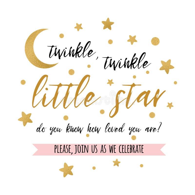 Text des Funkelnfunkeln-kleinen Sterns mit Goldstern und Mond für Mädchenjungenbabyparty kardieren Einladung vektor abbildung