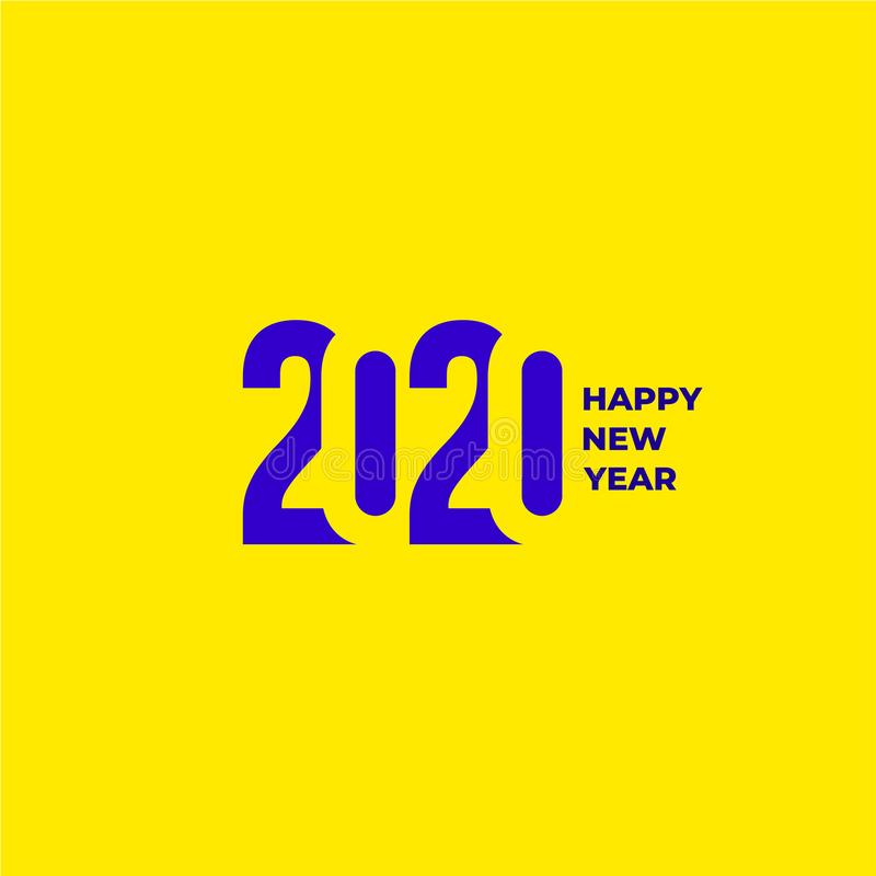 2020 text design pattern. Collection of Happy New Year and happy holidays. Vector illustration. Isolated on yellow background royalty free stock images