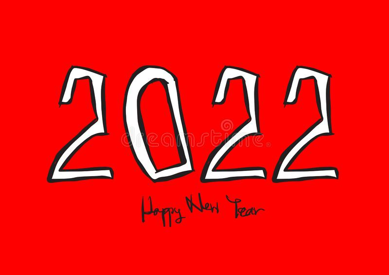 2022 text design vector illustration, Happy New Year, calendar cover template, lettering element, calligraphy 2022. Rat sign, handwritten isolated on red stock illustration