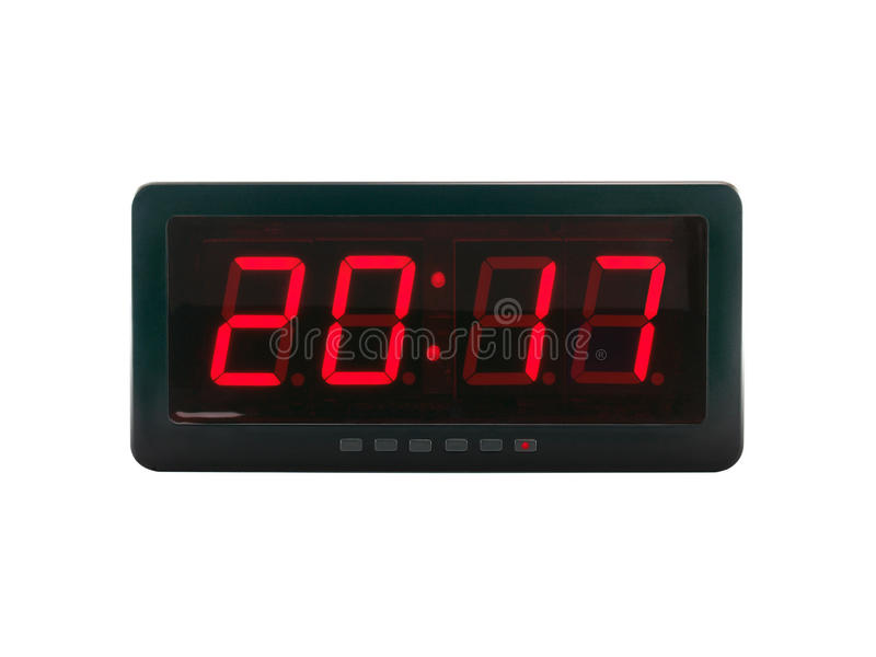 close up red led light illumination numbers 2017 on black digital electric alarm clock face isolated on white background stock photos