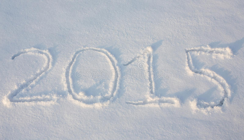 Text draw on snow. 2015 draw on snow, place for your text royalty free stock photography