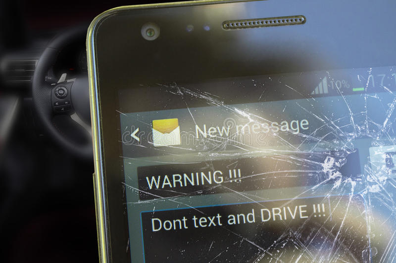 Text And Drive. Accident warning concept stock image