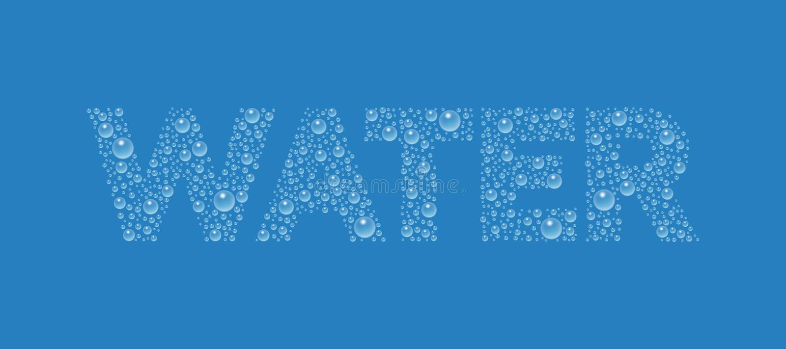 Text from droplets texture. Word Water. vector illustration