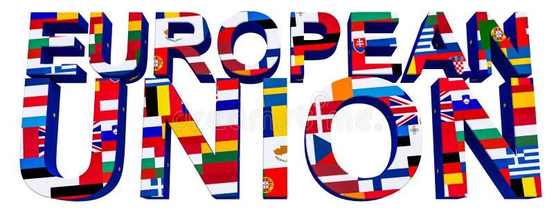 text-europé 3D union med bilden av 28 nationsflaggor av EU-medlemsstaterna royaltyfri illustrationer