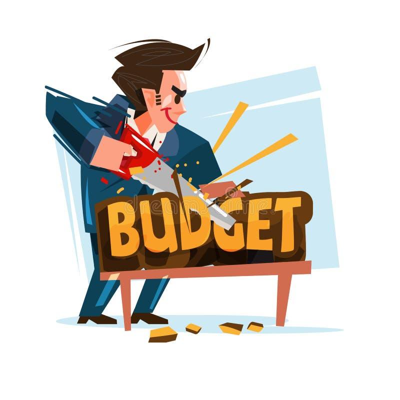 Text för affärsmanklippbudget, vektor vektor illustrationer