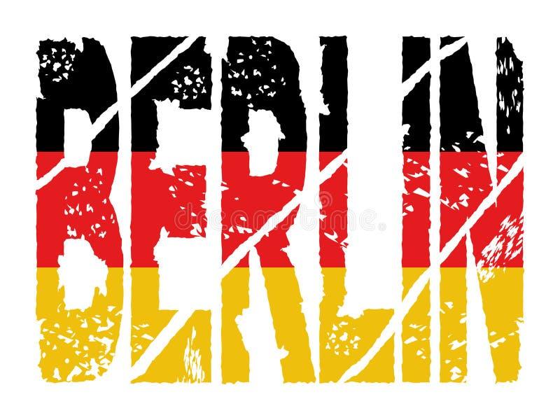 text för berlin flaggagrunge stock illustrationer