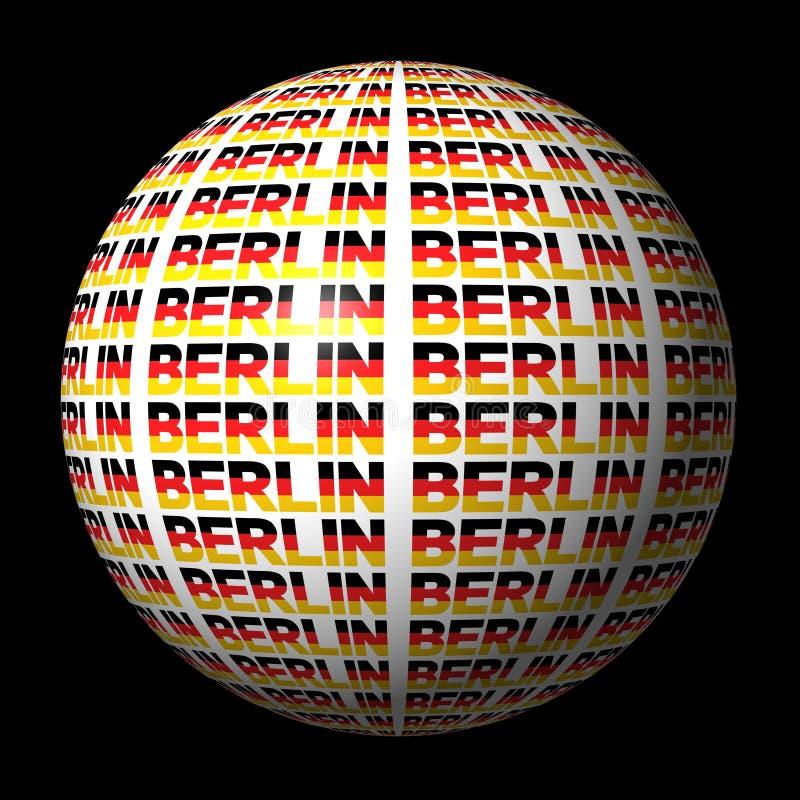 text för berlin flaggasphere stock illustrationer