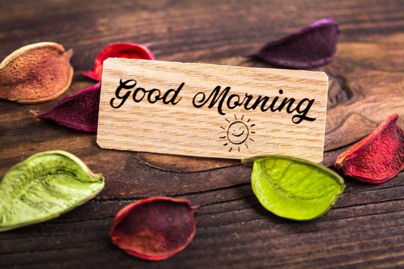 Text för bra morgon fotografering för bildbyråer