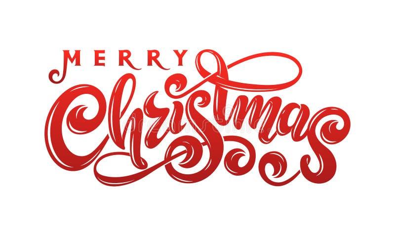 Text för Calligraphic inskrift för glad jul för vektor handskriven dekorerad märka röd Kort för feriedesignhälsning royaltyfri illustrationer