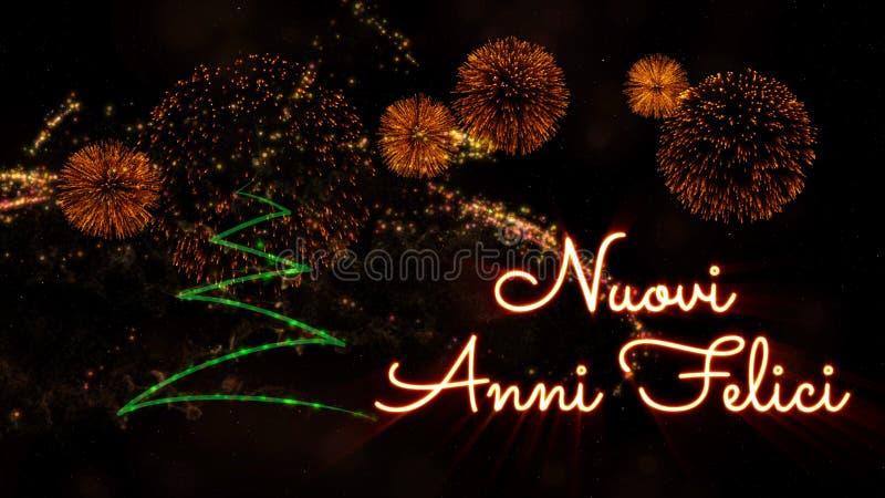 Text för det lyckliga nya året i italienska 'Nuovi Anni Felici' sörjer över trädet och fyrverkerier royaltyfri bild