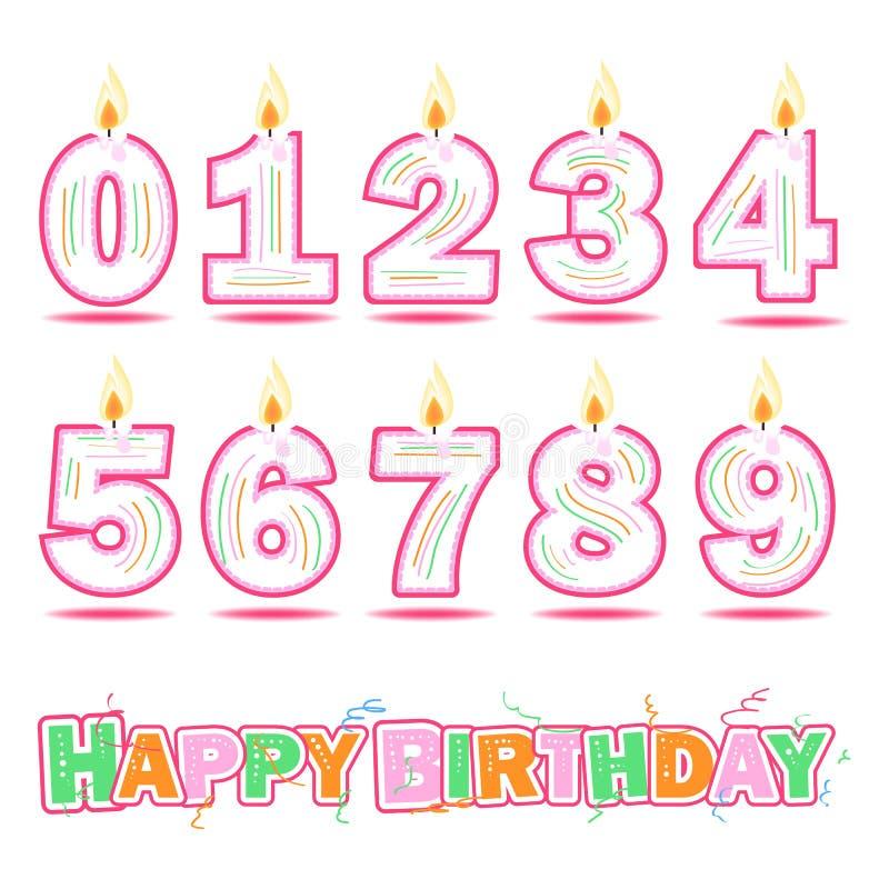 Text för födelsedagstearinljusnummer och för lycklig födelsedag vektor illustrationer