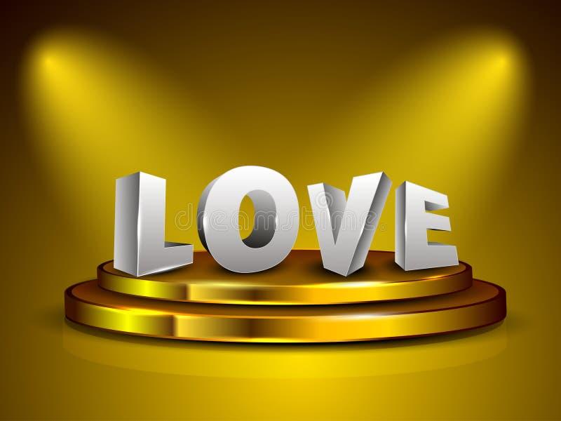 text för förälskelse 3D på guld- etapp. stock illustrationer