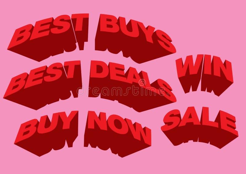 text för försäljning 3D vektor illustrationer
