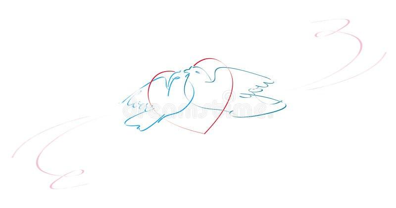 text för form för parduvahjärta älska vektor illustrationer