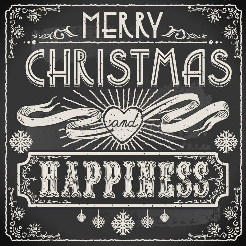 Text för glad jul för tappning på en svart tavla stock illustrationer