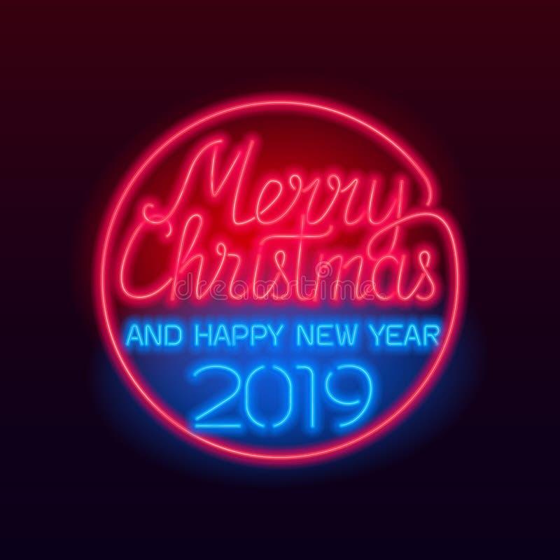 Text för glad jul och för lyckligt nytt år 2019 vektor illustrationer