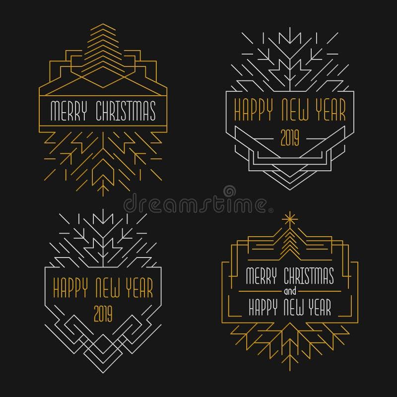 Text för glad jul och för lyckligt nytt år Art décoemblem i översiktsstil stock illustrationer