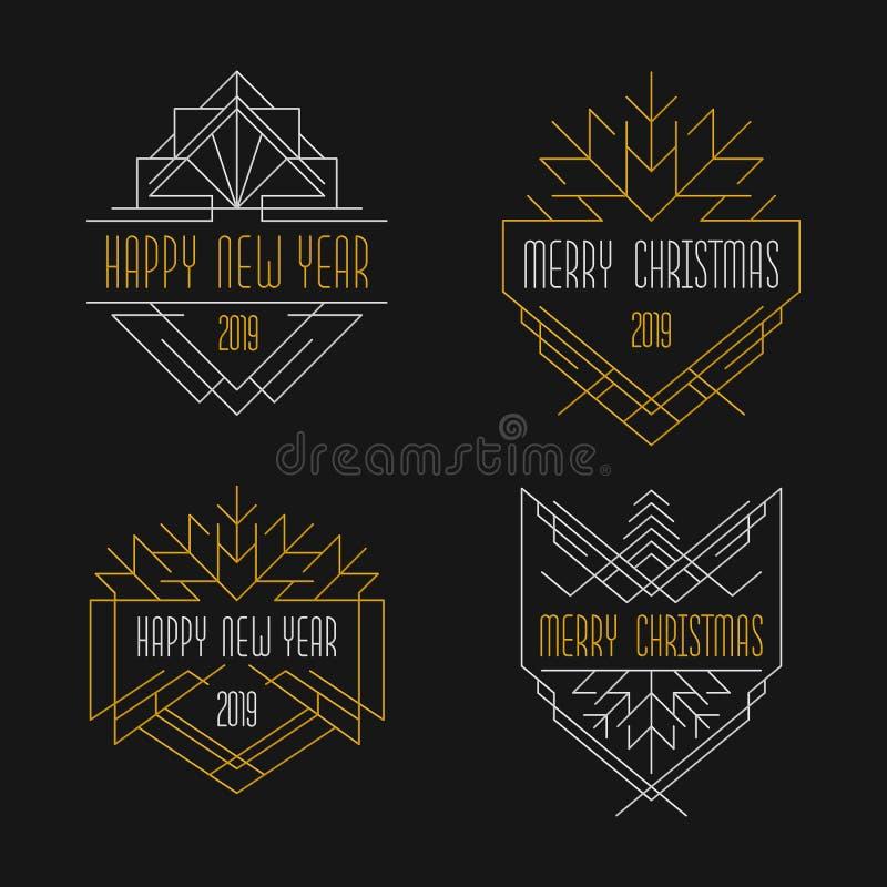 Text för glad jul och för lyckligt nytt år Art décoemblem i guld- och silver royaltyfri illustrationer