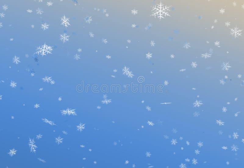 Text för glad jul och för lyckligt nytt år i gul färg på fotobakgrund för blått papper vektor illustrationer