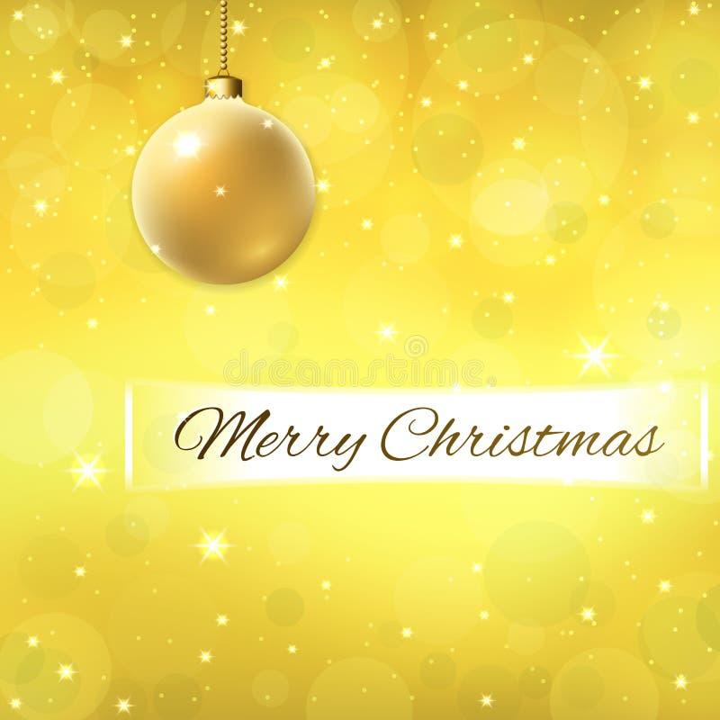 Text för glad jul på garneringguldbakgrund guld- struntsak 3d Stjärnor blänker, vita vintersnöflingor brigham royaltyfri illustrationer