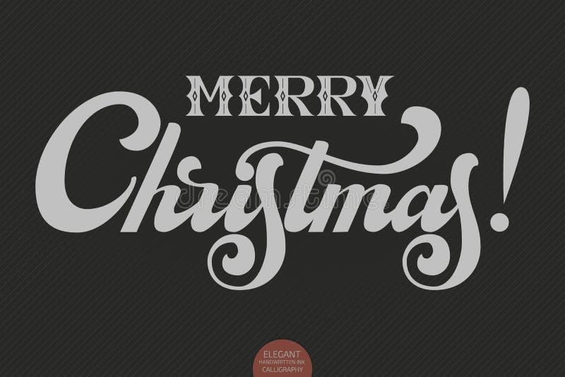 Text för glad jul för vektor Calligraphic mall för bokstäverdesignkort Idérik typografigåvaaffisch för ferier på royaltyfri illustrationer