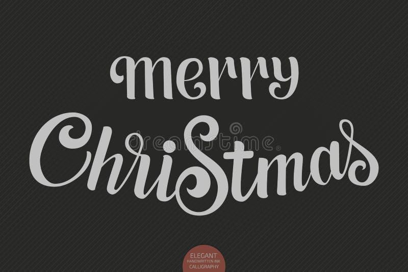 Text för glad jul för vektor Calligraphic mall för bokstäverdesignkort Idérik typografigåvaaffisch för ferier på vektor illustrationer