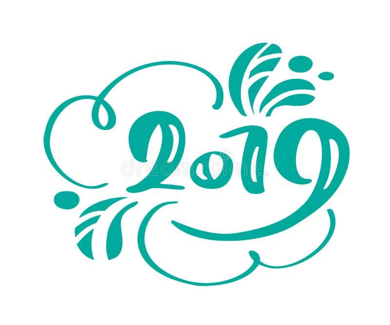 Text 2019 för Handwritting vektorkalligrafi År och jul för skandinavisk hand som utdraget nytt märker numret 2019 vektor illustrationer