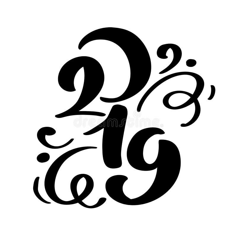 Text 2019 för kalligrafi för Handwritting krusidullvektor år och jul för hand som utdraget nytt märker numret 2019 vektor illustrationer