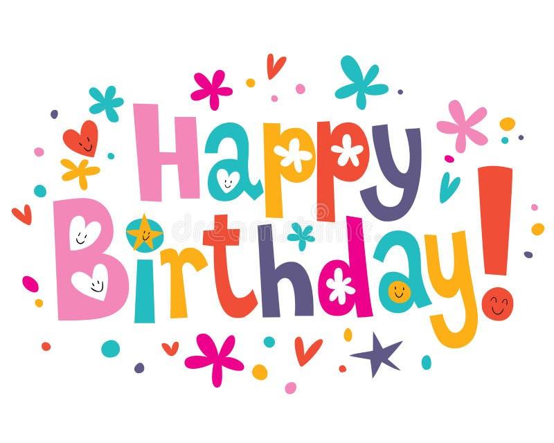 Text för lycklig födelsedag stock illustrationer