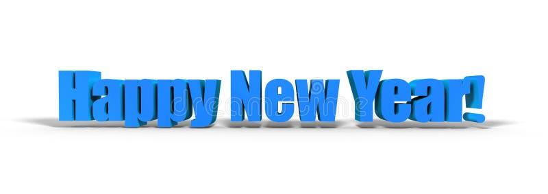 Text för lyckligt nytt år 3d på vit bakgrund stock illustrationer