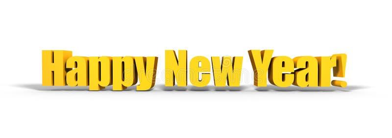 Text för lyckligt nytt år 3d på vit bakgrund royaltyfri illustrationer