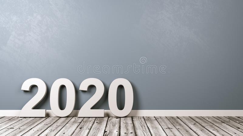 Text för 2020 nummer på trägolv mot väggen royaltyfria foton