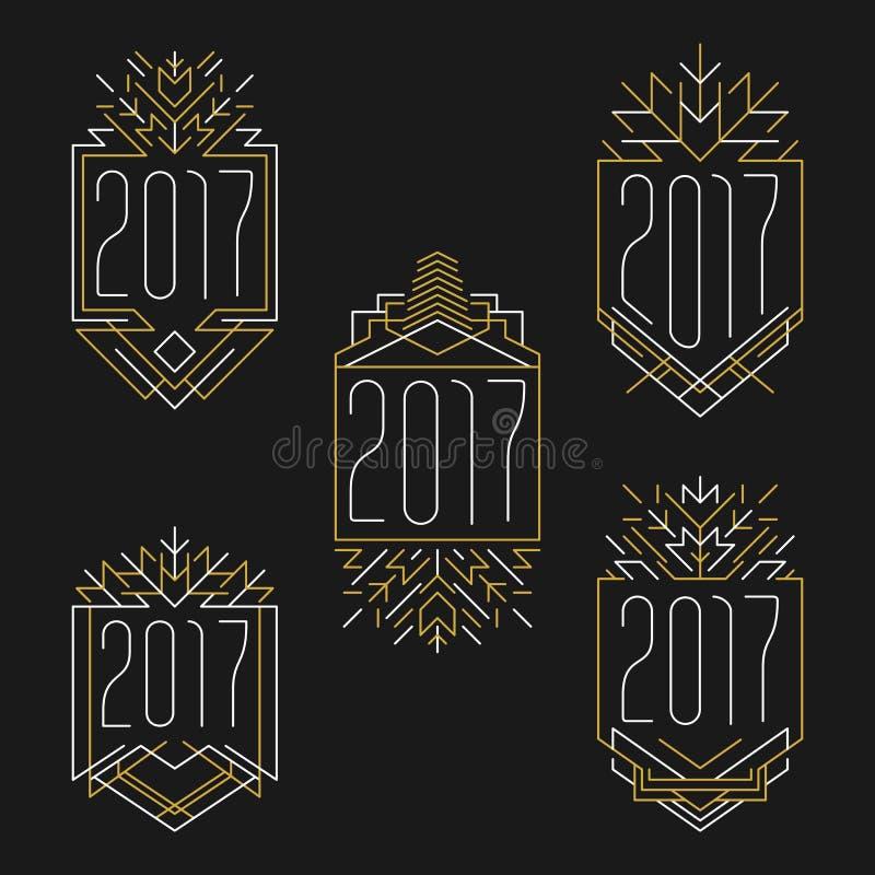 Text för nytt år 2017 Art décoramar i översiktsstil vektor illustrationer